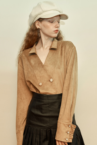 [fw 10% sale] lily suede blouse jacket brown