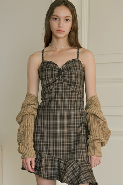 [2020 fw open sale]mimi check onepiece brown